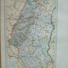 Alsacia de Nord Franta Colmar  Alsace Haute  1888 harta color