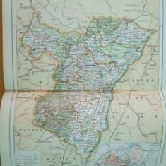 Alsacia de Sud  Franta Alsace Basse Strassbourg  1888 harta color