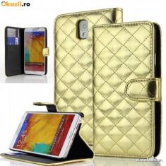 Husa Samsung Galaxy Note 3 Flip Portofel Gold Luxury - Husa Telefon Samsung, Galben