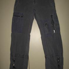 Pantaloni Sabotage superbi cu broderie Mar M - Pantaloni dama, Marime: M, Culoare: Gri, Lungi, Bumbac