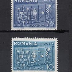INTELEGEREA BALCANICA 1938 - SERIE NESTAMPILATA FARA SARNIERA - Timbre Romania