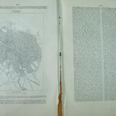 Bucuresti descriere si harta limba franceza din La Grande Encyclopedie