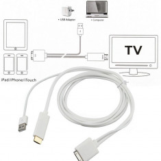 Cablu HDMI HDTV iPhone 4 4S iPad 2 3 Support iOS 9.0