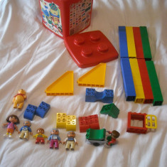 Lego Duplo - 100 piese de construit + galetusa pentru depozitare - Cutie depozitare LEGO