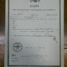 Craiova, Bilet pentru exportul cerealelor, negustor F. S, anul 1855 - Pasaport/Document