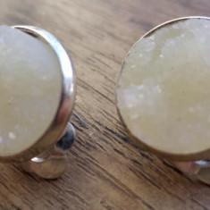 Cercei clips, baza cromata cu imitatie de geoda cristal alb laptos
