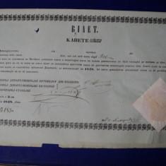 Bilet pentru exportul vitelor in alb semnat si timbrat, 1848 - Pasaport/Document