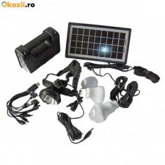 Kit solar fotovoltaic 3 becuri, incarcare telefon lanterna frontala GDLITE 8007 - Panou solar