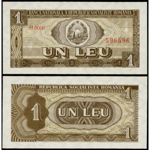 ROMANIA 1 LEU 1966 UNC NECIRCULATA
