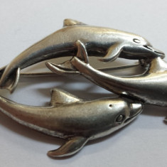 BROSA argint trei DELFINI splendida VECHE vintage MARE superba ELEGANTA de efect