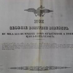 Dolj, Diploma Domneasca pentru boer de neam Florea Brat fiul lui Stan din satul Ghizdavesti 1825 - Diploma/Certificat