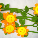 Ghirlanda figurine fetru 8 pcs - L 2, 00 m - decor Primavara Floare Smiley