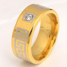 Superb inel 9K GOLD FILLED cu cristale CZ - model versace. Marimea 7.5 si 6.5 - Inel placate cu aur