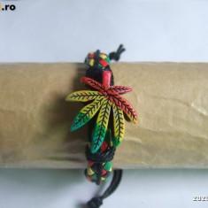 Bratara Frunza Marijuana Rasta Jamaica - Bratara piele