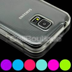 Husa silicon transparent Samsung Galaxy S5 + folie sticla temperat glass