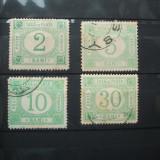 ROMANIA 1891 / 4 VAL STAMPILATE / TAXA DE PLATA CULOARE VERDE - Timbre Romania