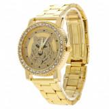 Ceas dama FASHION Geneva auriu cristale bratara metalica + cutie simpla cadou, Casual, Quartz, Piele, Analog