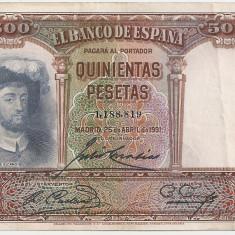 SPANIA 500 PESETAS 1931 VF - bancnota europa