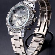 Ceas dama FASHION Geneva argintiu cristale bratara metalica + cutie cadou, Quartz, Otel, Analog