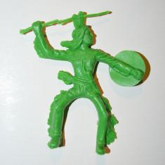 Jucarie figurina indian vechi vintage, 9cm, colectie, decor, diorama, verde