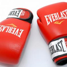 Manusi box Everlast Fighter 12 oz - din piele - rosu cu negru - Noi - Originale
