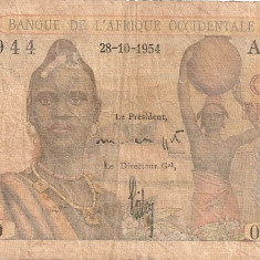 AFRICA OCCIDENTALA FRANCEZA 5 FRANCS 1954 U - bancnota africa
