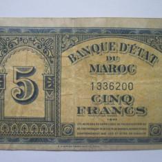 Maroc.5 francs.1943 - bancnota africa