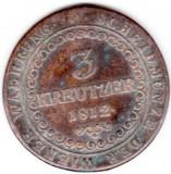 Austria,Ungaria,3 kreuzer kreutzer 1812 B,Kormoczbanya URIAS 32 mm de CALITATE