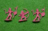 #13 Lot 3 figurine indieni, 2cm, plastic, colectie, diorama, roz