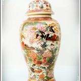 SPLENDIDĂ! URNĂ MARE ȘI VECHE DIN PORȚELAN CHINEZESC - ROYAL SATSUMA - 1 KG! - Portelan, Decorative