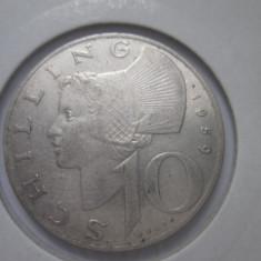 Austria.10 schilling.1959.argint.cod catalog km-2882.in cartonas