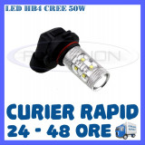 BEC AUTO LED LEDURI HB4 CREE 50W LUMINI DE ZI DRL FAZA LUNGA (FLASH) PROIECTOARE, Universal, ZDM