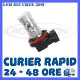 BEC AUTO LED LEDURI H11 CREE 50W LUMINI DE ZI DRL FAZA LUNGA (FLASH) PROIECTOARE, Universal, ZDM
