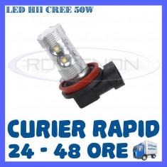 BEC AUTO LED LEDURI H11 CREE 50W LUMINI DE ZI DRL FAZA LUNGA (FLASH) PROIECTOARE - Led auto ZDM, Universal