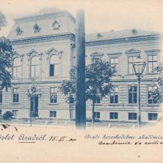 ARAD, SALUTARI DIN ARAD, ACADEMIA DE COMERT, CLASICA, CIRCULATA MAR.''900 - Carte Postala Crisana pana la 1904, Printata