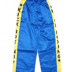 Pantaloni Kick Boxing - D*Matase artificiala*Albastru/dunga galbena KB*L - Taekwondo