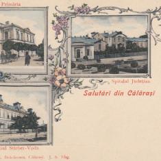 SALUTARI DIN CALARASI, PRIMARIA, SPITALUL JUDETIAN, GIMNAZIUL STIRBEI - VODA - Carte Postala Muntenia pana la 1904, Necirculata, Printata