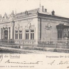 SALUTARI DIN DOROHOI, PROPRIETATEA DLUI G G BURGHELE, TCV, CIRC. JUL. 1904 - Carte Postala Moldova pana la 1904, Circulata, Printata
