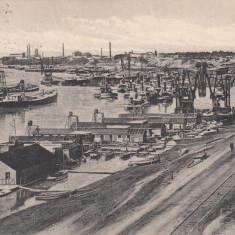BRAILA, VEDEREA PORTULUI LA DUNARE, CIRCULATA 11/1917 - Carte Postala Muntenia 1904-1918, Printata