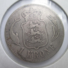 Danemarca.1 krone.1875.argint.in cartonas.cod catalog - km797.1