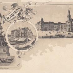 ARAD SALUTARI DIN ARAD PIATA MONUMENTUL MARTIRILOR TEATRUL CLASICA - Carte Postala Crisana pana la 1904, Necirculata, Printata