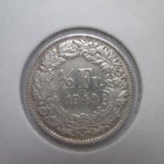Elvetia.1/2 francs.1942.argint.in cartonas.cod catalog - km23