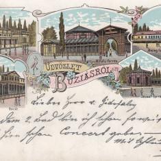 BUZIAS BANAT SALUTARI DIN BUZIAS LITOGRAFIE CIRCULATA 1900 - Carte Postala Banat pana la 1904, Printata