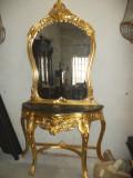 Consola cu oglinda, stil Rococo, lemn masiv de fag, sculpturi manuale
