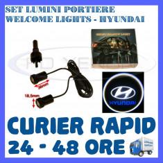 SET 2 x LUMINI LOGO LASER HIUNDAY GENERATIA 6 (12V, CAMION 24V) - LED CREE 7W - Logo Marca ZDM