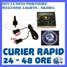 SET 2 x LUMINI LOGO LASER SKODA GENERATIA 6 (12V, CAMION 24V) - LED CREE 7W - Logo Marca ZDM