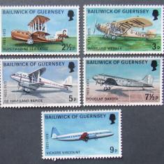 BAILIWICK OF GUERNSEY 1973 - AVIATIE  5 VALORI, NEOBLITERATE - E0041