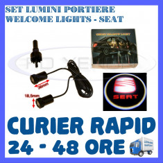 SET 2 x LUMINI LOGO LASER SEAT GENERATIA 6 (12V, CAMION 24V) - LED CREE 7W - Logo Marca ZDM