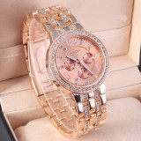 Ceas Casual Luxury GENEVA Lady Crystal Model 2016 Auriu Argintiu Roz|GARANTIE