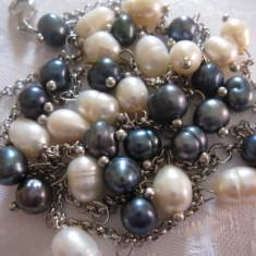 COLIER CU PERLE DE CULTURA ALBE SI PERLE NEGRE 51 CM - Colier perle